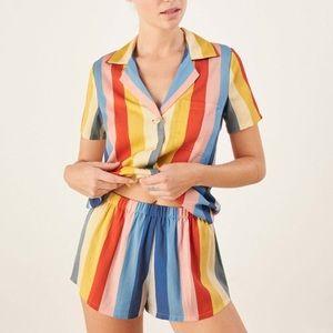 Reformation Rainbow Stripe Pajama Set